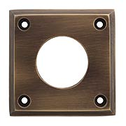 Solid-Brass Square Cylinder Escutcheon in Antique-By-Hand - 2 1/2