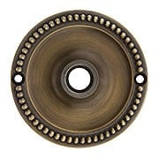 "3 1/4"" Beaded Brass Rosette For Pre-drilled Doors in Antique-By-Hand Finish (item #R-01BM-8875-B-ABH)"