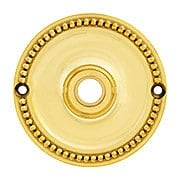 """3 1/4"""" Beaded Brass Rosette For Pre-drilled Doors (item #R-01BM-8875-BX)"""