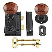 Cast-Iron Narrow Rim-Lock Set with Small Bennington-Style Knobs (item #R-01CH-2011-SBN)