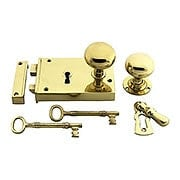 Large Colonial Brass Rim Lock With Solid Brass Knobs (item #R-01CH-400246X)