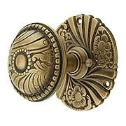 Roanoke Privacy Rosette Door Set with Matching Door Knobs in Antique-By-Hand Finish (item #R-01CH-400404-PRI-ABH)