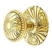 Roanoke Privacy Rosette Door Set With Matching Knobs in Unlacquered Brass (item #R-01CH-400404-PRI)