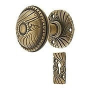 Roanoke Rosette Interior Mortise Set with Matching Door Knobs in Antique-By-Hand (item #R-01CH-ROA-RML-ABH)