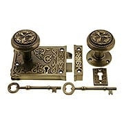 Late Victorian Style Rim Lock Set In Antique-By-Hand (item #R-01DC-02004813-ABH)