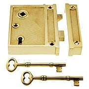 Solid Brass Vertical Rim Lock With Choice of Finish (item #R-01DE-1022VX)