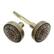 Pair of Windsor Drum Style Door Knobs In Antique-By-Hand Finish (item #R-01DE-104-ABH)