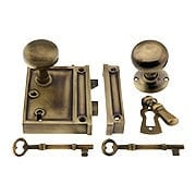 Solid Brass Vertical Rim Lock & Knobs In Antique-By-Hand Finish (item #R-01DE-153-1022V-ABH)