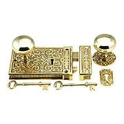 Brass Scroll Rim Lock Set With Solid Brass Door Knobs (item #R-01DE-153-1033-PB)
