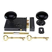 Cast Iron Horizontal Rim Lock Set With Black Porcelain Door Knobs (item #R-01DE-BLK-1023)
