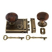 Antique Brass Horizontal Rim Lock Set With Bennington Style Porcelain Knobs (item #R-01DE-SBN-1022-AB)