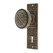 Brass Windsor Interior Mortise-Lock Set with Matching Knobs in Antique-by-Hand (item #R-01DE-WIN-ML-ABH)