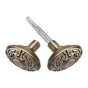 Oval Victorian Door Knobs in Antique-By-Hand - 1 Pair (item #R-01NW-712749-ABH)