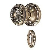 Rope Rosette Mortise-Lock Set with Egg & Dart Design Knobs in Antique-By-Hand (item #R-01NW-716914-ABH)
