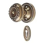 Rope Rosette Mortise-Lock Set with Meadows Design Knobs in Antique-By-Hand (item #R-01NW-716916-ABH)