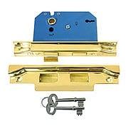 Brass Rebated Mortise Lock Set (item #R-01SB-9048X)