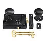 Horizontal Rim-Lock Set with Small Cast-Iron Knobs (item #R-01SE-1023-153MB)