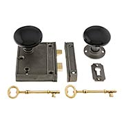 Antique Iron Vertical Rim Lock Set With Black Porcelain Door Knobs (item #R-01SE-BLK-1023V-AI)