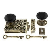 Antique Brass Century Rim Lock Set With Black Porcelain Knobs (item #R-01VH-BLK-1032-AB)