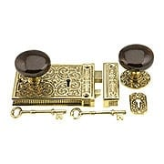 Solid Brass Scroll Rim Lock With Brown Swirl Porcelain Knobs (item #R-01VH-SBN-1033-PB)