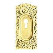 Roanoke Pocket Door Pull With Keyhole in Unlacquered Brass (item #R-06CH-390702-031)