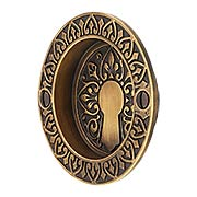 Ornate Flush Door Pull In Antique-By-Hand Finish (item #R-06DE-114-ABH)