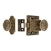 Decorative Cast Brass Screen Door Latch Set In Antique-By-Hand (item #R-06SE-2022033-ABH)