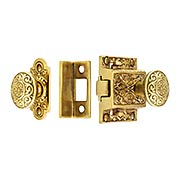Decorative Cast Brass Screen Door Latch Set (item #R-06SE-2022033-PBX)