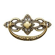 "Victorian Style Cast-Brass Bail Pull in Antique-by-Hand - 3"" Center-to-Center (item #R-08BM-1101-ABH)"