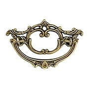 Late Victorian-Style Brass Bail Pull with Antique-By-Hand Finish - 3