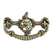 Rococo-Style Brass Bail Pull in Antique-by-Hand - 3