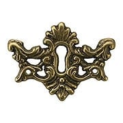 Decorative Solid Brass Keyhole Cover in Antique-By-Hand Finish (item #R-08BM-1202-ABH)