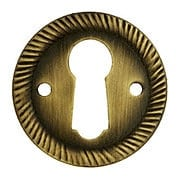 Stamped Brass Round Keyhole Cover with Rope Design in Antique-By-Hand Finish (item #R-08BM-1209-ABH)