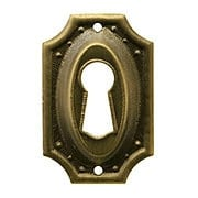 Stamped Brass Colonial Revival Keyhole Cover in Antique-By-Hand Finish (item #R-08BM-1217-ABH)