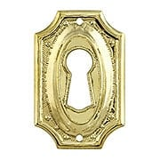 Stamped Brass Colonial Revival Keyhole Cover (item #R-08BM-1217-PB)