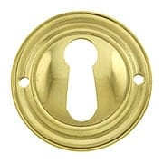 Round Stamped Brass Keyhole Cover (item #R-08BM-1218-PB)