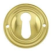 Round Stamped Brass Keyhole Cover (item #R-08BM-1218-PB)