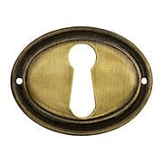 Oval Horizontal Stamped Brass Keyhole Cover in Antique-By-Hand Finish (item #R-08BM-1219-ABH)