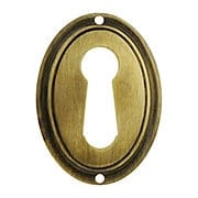 Stamped Vertical Oval Keyhole Cover in Antique-By-Hand Finish (item #R-08BM-1220-ABH)