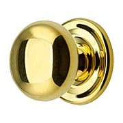 Round Brass Cabinet Knob With Rosette - 1 1/4