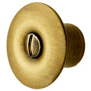 Brass Hoosier Cabinet Knob in Antique-By-Hand - 1 1/8