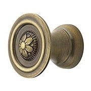 "Small Flower Design Cabinet Knob in Antique-By-Hand - 1"" Diameter (item #R-08BM-1246-ABH)"