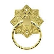 Eastlake Star Pattern Ring Pull In Unlacquered Brass (item #R-08BM-1259-PB)