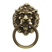 Lion Head Ring Pull In Antique Brass (item #R-08BM-1260-AB)