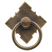Solid-Brass Diamond Ring Pull in Antique-By-Hand (item #R-08BM-1282-ABH)