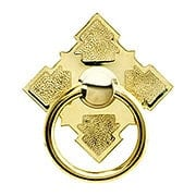 Solid Brass Diamond Ring Pull In Brass or Nickel Finishes (item #R-08BM-1282X)