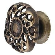 Cast-Brass Ornate Cabinet Knob in Antique-By-Hand - 1 1/2
