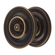 "Large Federal Style Knob & Backplate in Antique-By-Hand - 1 5/8"" Diameter (item #R-08BM-1297-ABH)"