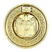 Medium Federal Style Single Post Pull in Unlacquered Brass (item #R-08BM-1451-PB)