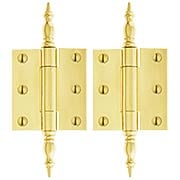 Pair of Solid Brass Steeple Tip Cabinet or Wardrobe Hinges - 2 1/4